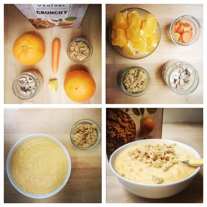 Ruckzuck-Rezept: Orange, Karotte, Ingwer und Cashewkerne mixen & mit Crunchy toppen