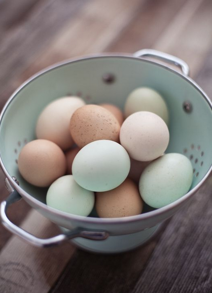 Naturally colourful eggs by old breeds © rusticmeetsvintage.com via Pinterest