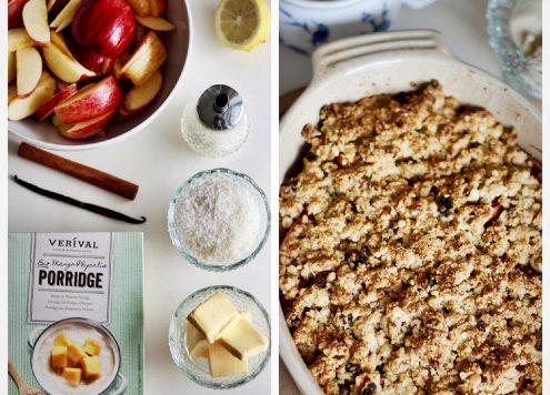 Apfel Crumble mit Mango-Physalis Porridge