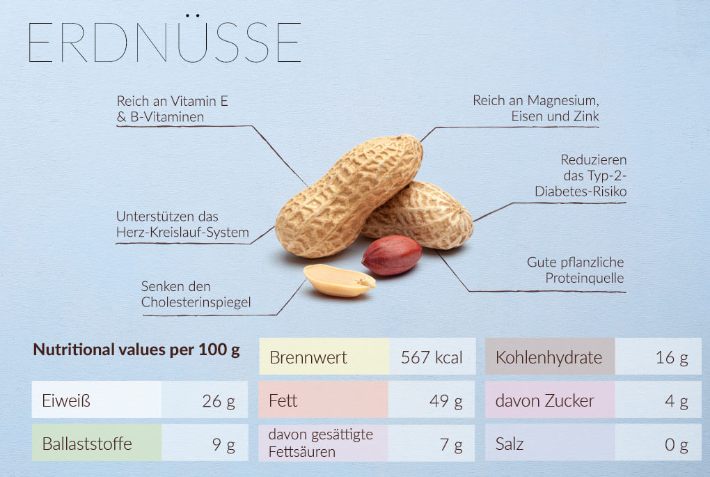 Erdnüsse Nährwerte und Nährstoffe
