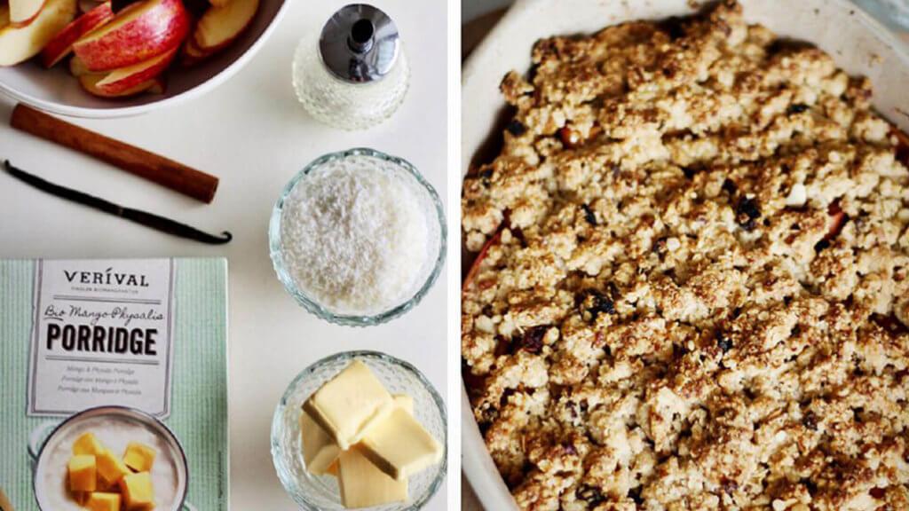 Haferflocken Frühstück Rezept - Apfel Crumble Mango Physalis Porridge