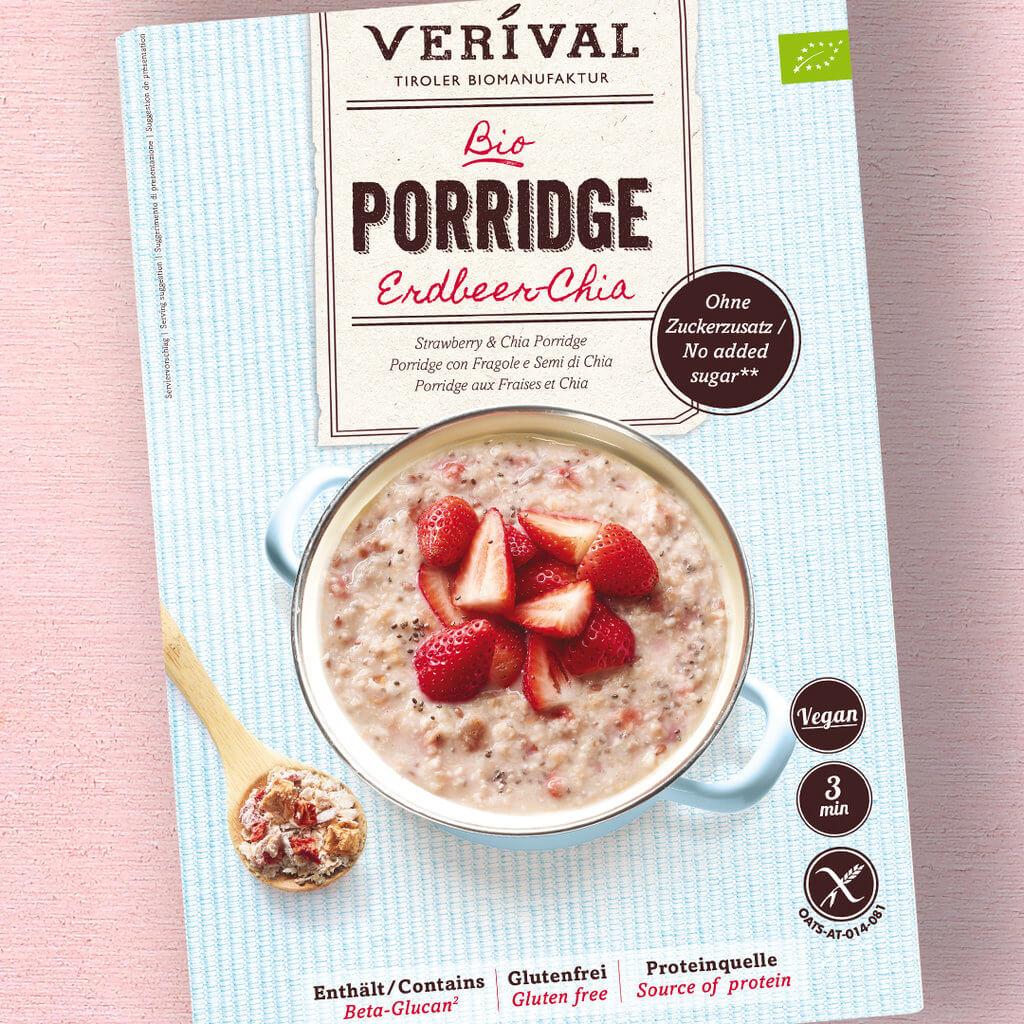 Erdbeer Chia Porridge Bio Siegel