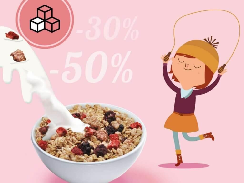 Colazione salutare per bambini con il 30-50% in meno di zucchero