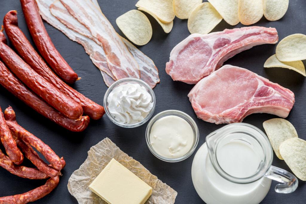 Gesättigte Fettsäuren in Fleisch, Milch und Butter