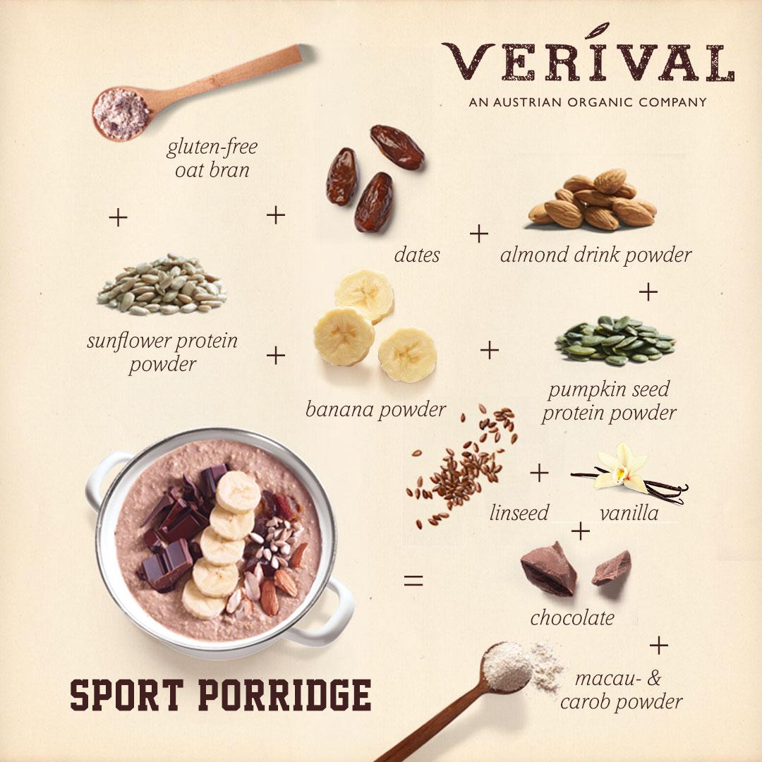 Infografik Sport-Porridge Schoko-Banane